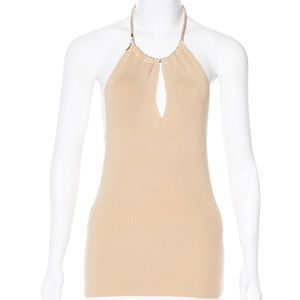 NWT Versace Maglia Beige Halter with Gold Neck 40
